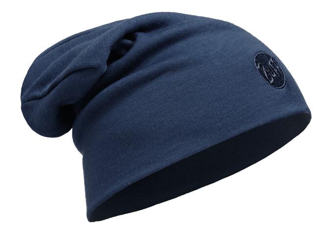 Buff Wełniana czapka z wełny Merino Heavyweight Loose, solid denim